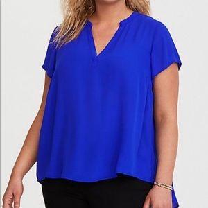 Torrid Blue Short Sleeve Georgette Pullover Blouse